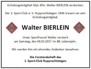 Nachruf Walter BIERLEIN